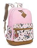 Leaper Cute Floral Canvas School Backpack Laptop Shoulder Bag Travel Rucksack Casual Daypack
