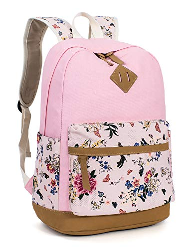 Leaper Floral School Backpack College Bookbag Shoulder Bag Satchel Daypack Pink