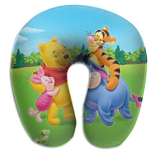 AOOEDM Dibujos Animados-Winnie-Pooh Almohadas en Forma de U Almohada portátil de Viaje para el Cuello, Almohadas Suaves para Exteriores Almohadas de Espuma viscoelástica, cómodas y Transpirables, par