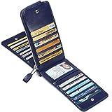 JEEBURYEE メンズ 長財布カードケース薄型二つ折り本革レディース財布カード26枚収納磁気防止カード入れ大容量革人気小銭入れ男女兼用Rfidの識別オイルレザーブルー L サイズ ブルー ( オイルレザー )