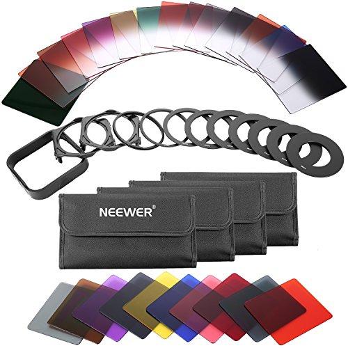 Neewer 40 en 1 Filtro Kit Cuadrado ND Graduado Color Completo Compatibles con Cokin P Series para Camaras DSLR,Aluminio Rosca Marco,Adaptador Anillo Soporte Filtro y Parasol