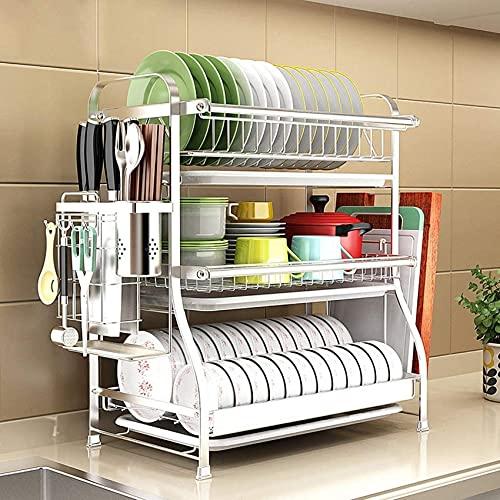 Diskställ, 3 lager Köksutrustning för att torka, tvätta och tömma diskmaskin, 304 rostfritt stål förvaringsbestick, silver