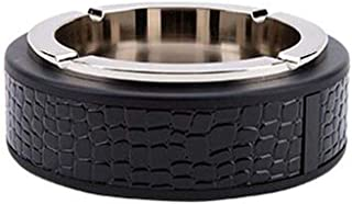 GAOTING Ashtray/ashtray creative decorative metal (Color : Black, Size : 15.4 * 4.6CM)