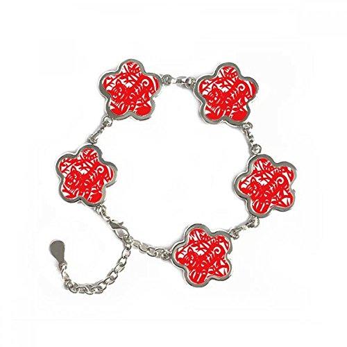 DIYthinker Papier-Schnitt-Tiger-Tier China Sternzeichen-Blumen-Form-Metallarmband-Ketten-Schmucksachen Armband-Dekoration-Geschenk