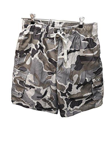 "Ocean Pacific OP Mens Elastic Waist Swim Short Trunks - Tugger Above Knee 20.5"" Outseam CAMO/Gray, Size: Medium."