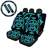 TOADDMOS Polynesian Hawaiian Tropical Hibiscus Sea Turtles Car Seat Covers Set with 2 Seat Belt Pads & Universal 15 Inch Steering Wheel Cover Fit for Cars, Trucks, SUV, or Van