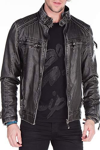Cipo & Baxx Herren Kunstlederjacke Bikerjacke Übergangsjacke 3D Print Used-Look Lederjacke Jacke mit Totenkopf Schwarz L