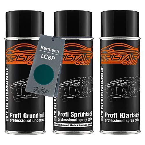 TRISTARcolor Autolack Spraydosen Set für Karmann LC6P Dragongrün Perl/Dragon Green Perl Grundlack Basislack Klarlack Sprühdose 400ml