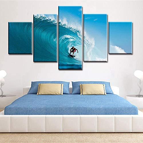 Kai&Guo Leinwand Malerei Poster Für Wohnzimmer Moderne 5 Panel Surfen Sport Wandkunst Dekoration Rahmen HD Gedruckt Bilder, Rahmen, 30x40 30x60 30x80 cm