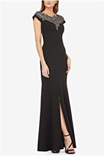 JS Collection Womens Slitted Lace-Neck Stretch Crepe Gown Cap Sleeve Jewel Neck Maxi Evening Dress in Black, Size 4