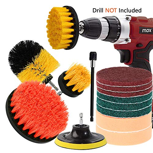 Nexitlife Drill Brush Attachments Clean Automobile, Bathroom Surfaces Tub, Shower & Kitchen, with Long Bit Extension All-purpose Scrub Grout Tile Pool Corners, Attach Pads and Sponge Set 14 Piece