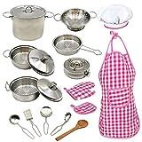 18pcs Los niños pequeños Utensilios de Cocina de Acero Inoxidable 304 sartenes ollas niños Artículos para cocinar niños Finge los Juguetes de Cocina