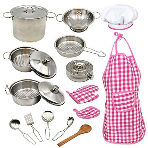18pcs baby's Kitchen 304 roestvrij stalen potten pannen Koken van kinderen gerechten Doen alsof Cooking Toys