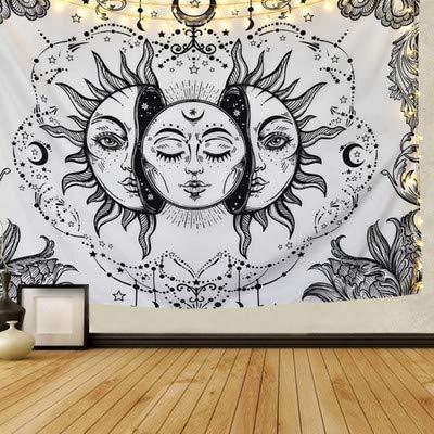 Mandala Wandtuch Sonne und Mond Psychedelische Wandteppich Schwarz und Weiß Wandbehang Wandteppich Mandala Tuch Home Decor Tapestry (Weiß, 150cmx200cm)