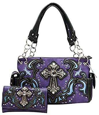 HW Collection Western Handbag Colored Scroll Rhinestone Cross Carry Concealed Country Purse Wallet Set (Purple)
