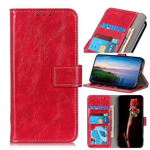 LMFULM® Hülle für LG V60 ThinQ 5G (6,8 Zoll) PU Leder Magnet Brieftasche Lederhülle Retro Crazy Horse Muster Stent-Funktion Ledertasche Flip Cover Rot