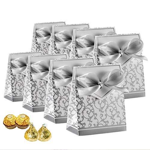50 Stück Süßigkeiten-Boxen, Geschenkboxen, Kuchenkartons, Süßigkeiten-Beutel mit Geschenkbändern für Hochzeit, Party-Dekoration Ostern, Silber