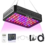 TOLYS 1000W LED Grow Light for Indoor Plants, Full Spectrum Dual Chip Design Growing Lamps, Double Switch Veg and Bloom Buttons, with Timer and Thermometer Humidity Monitor, with Adjustable Rope