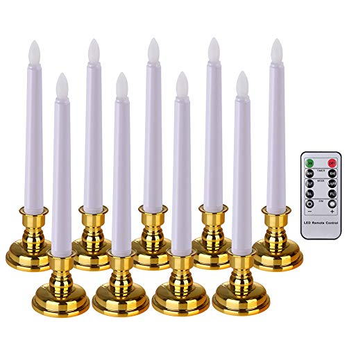 PChero 9 vlamloze dimbare kaarsen LED tafelkaarsen staafkaarsen, werkt op batterijen (inbegrepen), afstandsbediening, timer, kandelaar, voor feest, bruiloft, verjaardag - warmwit