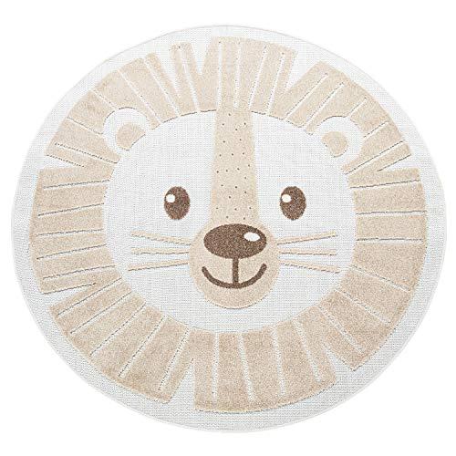 Paco Home Kinderteppich Kinderzimmer Outdoor Teppich Rund Spielteppich Modern 3D Effekt, Grösse:Ø 120 cm Rund, Farbe:Beige