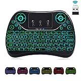 7-Color Backlit Mini Air Keyboard Touchpad Mouse Media Keys,2.4Ghz USB Handheld Keypad Small Wireless Keyboard Remote for Windows PC,Mac Mini,Laptop,KDBox,Android TV Box,PC,HTPC,Raspberry Pi 3 4
