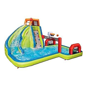 Banzai Aqua Sports 15  x 13  x 8  Kids Inflatable 3-in-1 Backyard Water Slide Splash Park w/ Climbing Wall Basketball Hoop Volleyball Court and Pool
