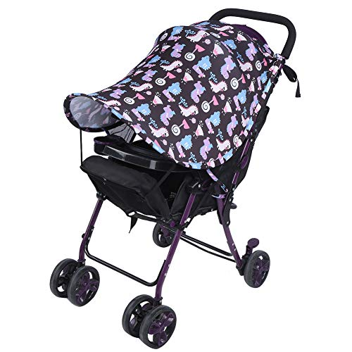 Soapow Cochecito de sol – Cochecito cubierta de sombrilla con bloqueo UV Cochecito mantener el asiento de coche cubierta fresca universal accesorio de cochecito de bebé (negro)