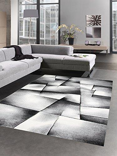 CARPETIA Modern Tapis Poil Ras Tapis de Salon résumé Karo Noir Gris Blanc Größe 160x230 cm