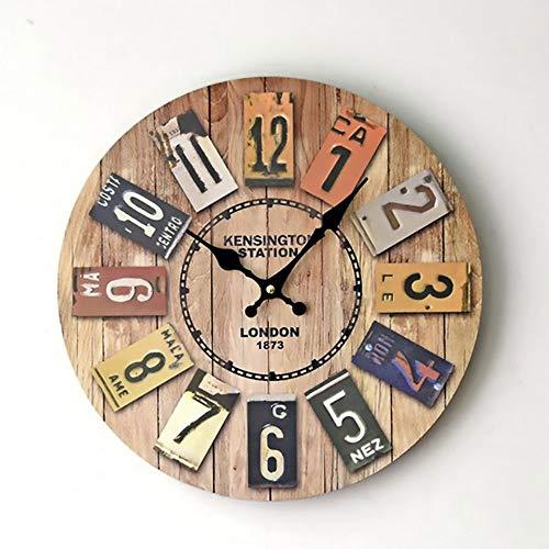FAGavin Reloj De Pared Retro Europeo De Madera Maciza Reloj De Decoración Digital De Pared En Color Sala De Estar Dormitorio Restaurante