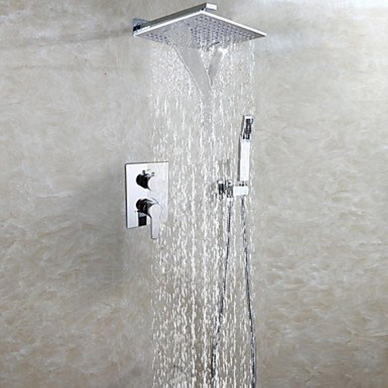 YFF@ILU Messing verchromt Badezimmer Dusche Wasserhahn Set m2 Regen- und Wasserfalldusche Easy-mount Box Mixer Ventil Handheld Dusche Inbegriffen