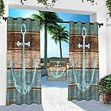 Cortinas para exteriores, ancla, ancla en tablones de madera, 100 x 241 cm, panel de tratamiento de ventanas para porche, balcón y pérgola Gazebo (1 panel)