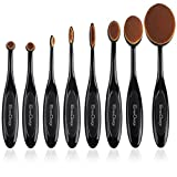EmaxDesign Oval Make-up Pinsel Set,8 Stück Professionelle Foundation Concealer Verblender Pinsel Flüssiges Pulver Creme Kosmetik Pinsel, Zahnbürste geschwungene Make up Pinsel für...