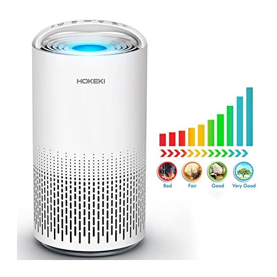 HOKEKI Air Purifier for Large Room with Air Quality Auto Sensor, True HEPA Air Cleaner Filter, 5-in-1 Odor Eliminator… 1 【Smart Air Quality Sensor & Indicator】This air freshener features unique AQ interface, built-in air quality sensor detects air quality at work, the interface will continuously diagnose the air and display the air quality level (blue-green-orange-red). you can adjust cleaning performance depending on the air quality. When the filters indicators light up, it is recommended to replace your filter every 4230 hours. 【5 in 1 Air Filter System】 3 speeds and 2 modes adjustment (low, medium, high speed, auto and sleep modes)in one button. In sleep mode, the noise is less than 29 dB, maximum noise below 52 dB at high speed. It is perfect for using in living rooms, bedrooms, children's rooms and offices. 【True HEPA Air Purifier】Equipped with pre-filter, HEPA filter, an activated carbon filter, easy to capture up dust, smoke, odor, pet dander and cooking around your living space and zero Ozone emission. The VK-6067B is suitable for rooms up to 18-31m², and the cleaning performance CADR (Clean Air Delivery Rate) is 220m³ / h3 fan speed and auto mode meet your needs.