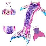 Cola de Sirena para Natación Traje de Baño 4pcs Mermaid Bikini con Monofín Establece para Niña Disfraz de Sirena Princesa Cosplay Conjuntos (Morado, 120)