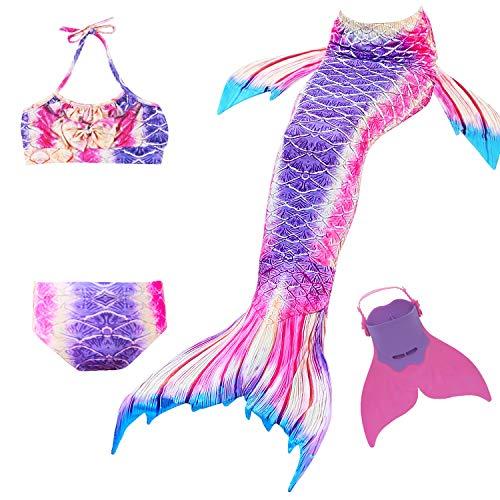 Cola de Sirena para Natación Traje de Baño 4pcs Mermaid Bikini con Monofín Establece para Niña Disfraz de Sirena Princesa Cosplay Conjuntos (Morado, 150)