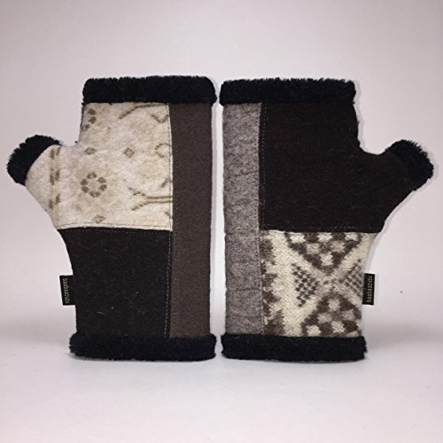 Baabaazuzu Gray, White & Black Patterned Women's Upcycled Wool Arctic Fingerless Gloves