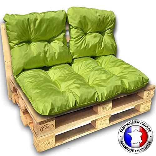 CALINUIT - KIT Coussins Palette Impermeable Vert 1 Assise+2 dossiers 120 * 80 cm