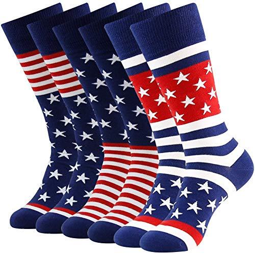 American Flag Fun Dress Socks for Men,Bonangel Cotton Novelty Crew Socks,Groomsmen Gift...