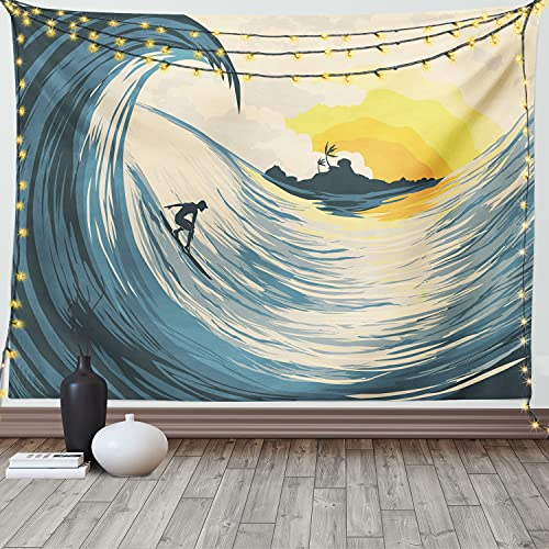 Ambesonne Ocean Tapestry, Vintage Illustration of Clouds Tropical Island Wave and Surfer Silhouette at Sunset Sky Seascape Art, Wide Wall Hanging for Bedroom Living Room Dorm, 60