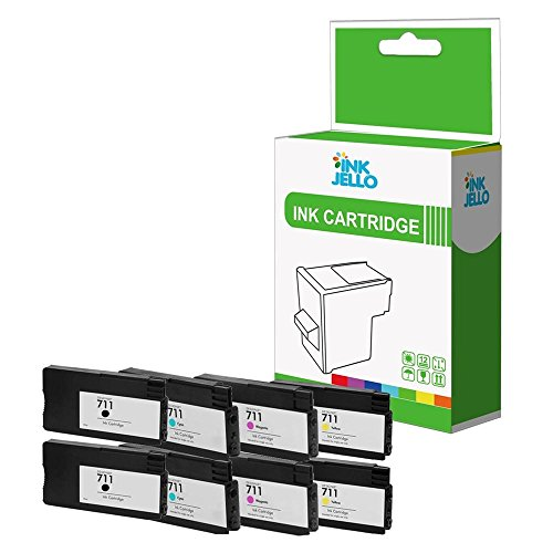 InkJello Compatible Tinta Cartucho Reemplazo para HP Designjet T120 T520 eImpresoras 711 (Negro Cian Magenta Amarillo 8-Pack)
