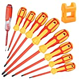 uoboeuq 9 Piece 1000V Insulated Electrician Screwdrivers Set with Magnetic Tips, Slotted and Phillips Bits Non-Slip Grip, with 1 Test pen Electrical screwdriver set