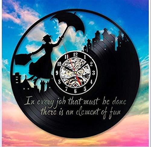 Retro Schallplattenuhr Frau mit Regenschirm Vinyl Wanduhr mit upcycling Design Uhr Wand-deko Wand-Dekoration 12-Zoll(Keine Lichter)