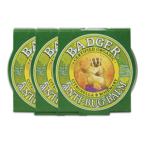 Badger - Anti-Bug Balm Tin, DEET-Free Mosquito Repelling Balm, Badger Balm Bug Repellent, Certified Organic Insect Repellent, 0.75 oz (3 Pack)