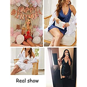 Avidlove Women Lingerie Satin Lace Chemise Nightgown Sexy Full Slips Sleepwear