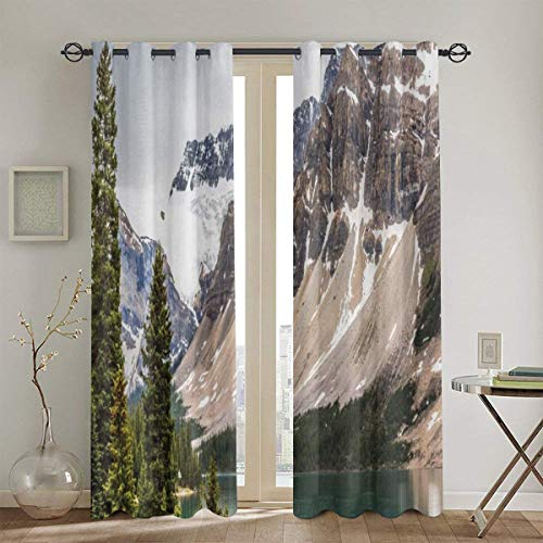 ZUL Blackout Curtains,Alberta Rocks With Ranges Composed Of Shale Limestone Hill Places Photograph Print,2 Panel Set Living Room Bedroom Window Drapes104in x84in(260cm x210cm)