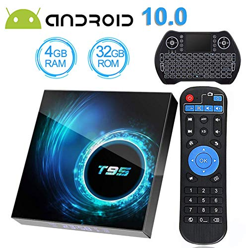Android TV Box 10.0 with 4GB RAM 32GB ROM, EASYTONE T95 Android Box H616 Quad-Core with Wi-Fi 2.4G 3D Ultra HD 6K H.265 Smart Android Boxes with Baclight Mini Wireless Keyboard