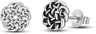 Sterling Silver Celtic Knot Stud Earrings Tiny Delicate Ear Studs 7-10 mm for Women Girl Irish Jewelry