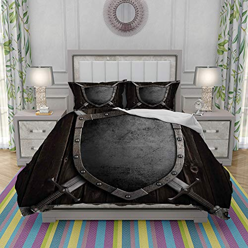 FYCORDB Duvet Cover Set-Bedding,Medieval Shield and Crossed Swords on Wood Gate Safety Security Military Theme,Quilt Cover Bedlinen-Microfibre 200x200cm with 2 Pillowcase 50x80cm