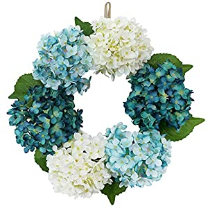 S_SSOY Artificial Peony Wreath 15.7 Inch Summer Fall Large Wreaths Springtime All Year Around Flower Green Leaves for Outdoor Front Door, Indoor Wall, Wedding, Home Décor