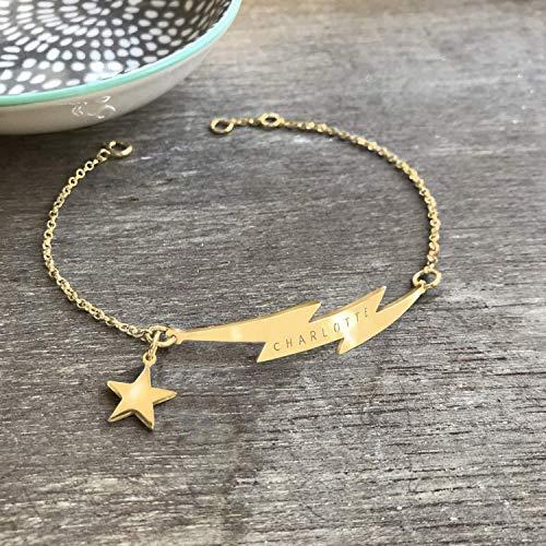 Personalisierte Gold Blitz Armband mit Stern, Blitz Armband, himmlischer Schmuck, Geburtstag Geschenk, Hochzeitstaggeschenk